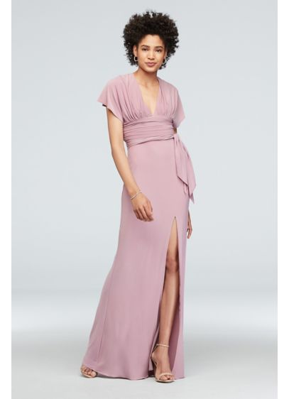Jersey Flutter Sleeve Dress with Ruched Waistline - You'll find a lot to love about this